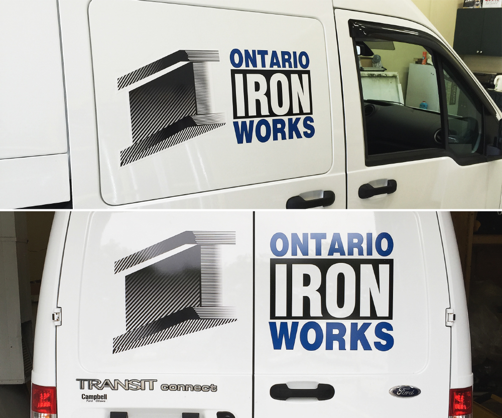 Ontario Iron Works contour cut vehicle decals / Vehicle graphics, full colour printed and cut vinyl, decals and half or partial wraps for cars and trucks