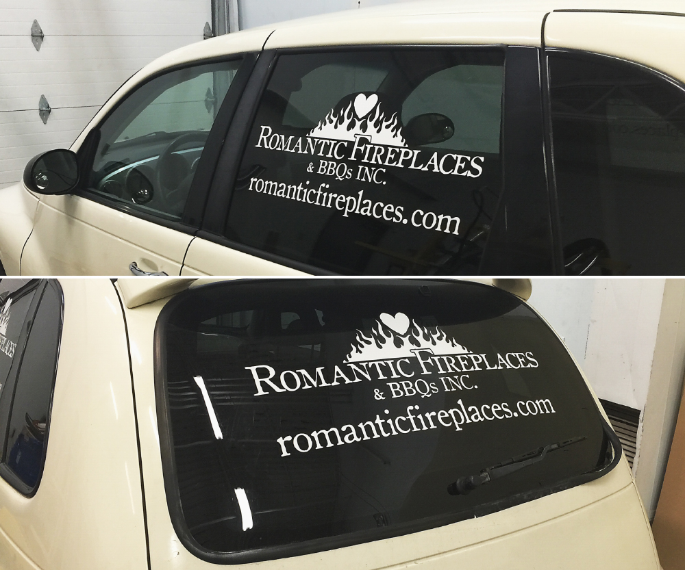 Romantic Fireplaces' cut vinyl vehicle decals / Vehicle graphics, full colour printed and cut vinyl, decals and half or partial wraps for cars and trucks
