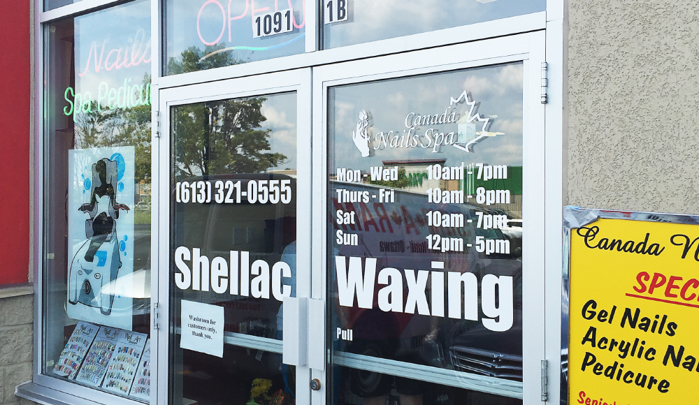 Canada Nails Spa informational signage / Full colour printed and cut vinyl graphics for the inside or outside of windows, single window prints and full cover artwork spanning multiple windows